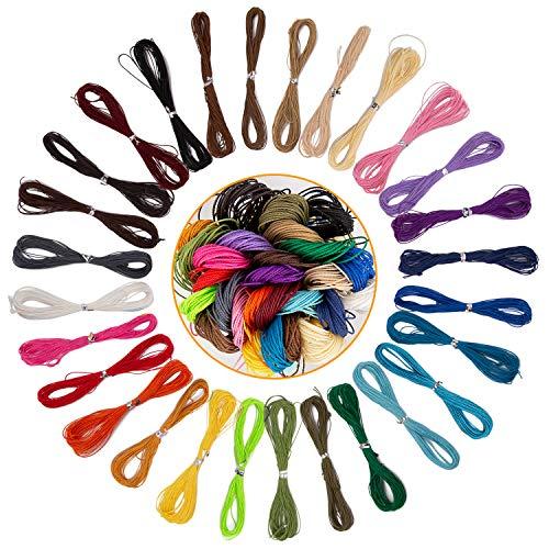 AIEX 1mm 28 Colores 280M Hilo Encerado Hilo de Cera de Poliéster encerado Hilo de Cera para Cadena de Pulsera de Collar de Joyería de Bricolaje, 10M Cada Color(28 PCS)