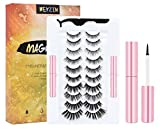 WEYZIM Magnetic Eyelashes with Eyeliner Kit, 10 Pairs Reusable Natural Look, 3D Magnetic Lashes with 2 Tubes of Magnetic Eyeliner, False Eye Lashes Kit with Tweezers Glue-free