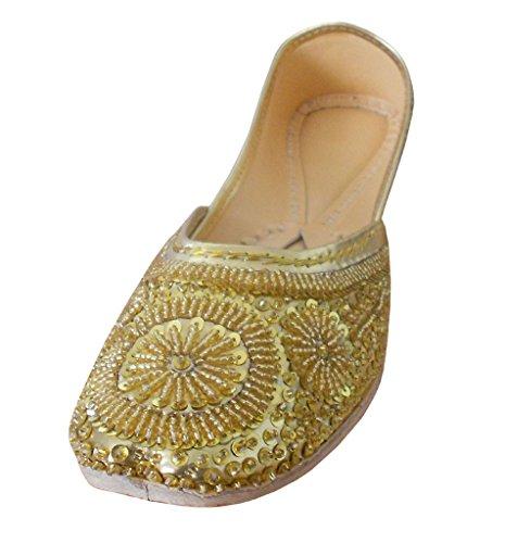 Kalra Creations Damenschuhe, indisch, handgefertigt, Kunstleder mit Sequenz-Arbeit Hochzeit Jutties, Gold - goldfarben - Größe: UK 3.5 M