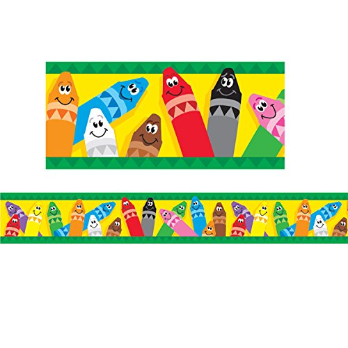 TREND enterprises, Inc. T-85041BN Colorful Crayons Bolder Borders, 35.75' Per Pack, 6 Packs