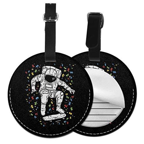 Kofferanhänger PU Leder Astronaut Skateboard Skater, Gepäckanhänger ID Etikett Mit Adressschild Namenschild für Reisetasche Koffer