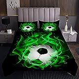 Grüner Fußball Tagesdecke 170x210cm Fußball Sport Steppdecke für Kinder Jungen Mädchen Sportthema Grün Weichste Bettwäsche Set Tagesdecke Bettbezug 2St
