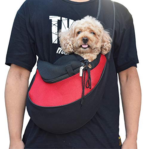 Asoract Small Dog Carrier Sling, Premium Quality Pet Sling Carrier for Small Dogs and Cats, Comfy Hands-Free Single-Shoulder Dachshund Carrier Travel Bag with Adjustable Strap and Pocket (Red M)