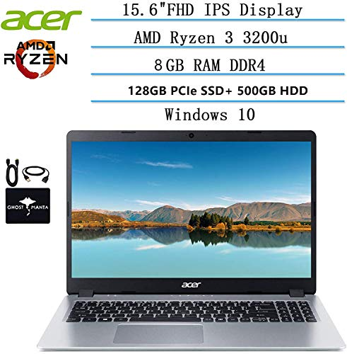 2020 Newest Acer Aspire 5 Slim Laptop 15.6 FHD IPS Display, AMD Ryzen 3 3200u-Dual Core (up to 3.5GHz), Vega 3 Graphics, 8GB RAM, 128GB PCIe SSD + 500GB HDD, Windows 10 w/Ghost Manta Accessories