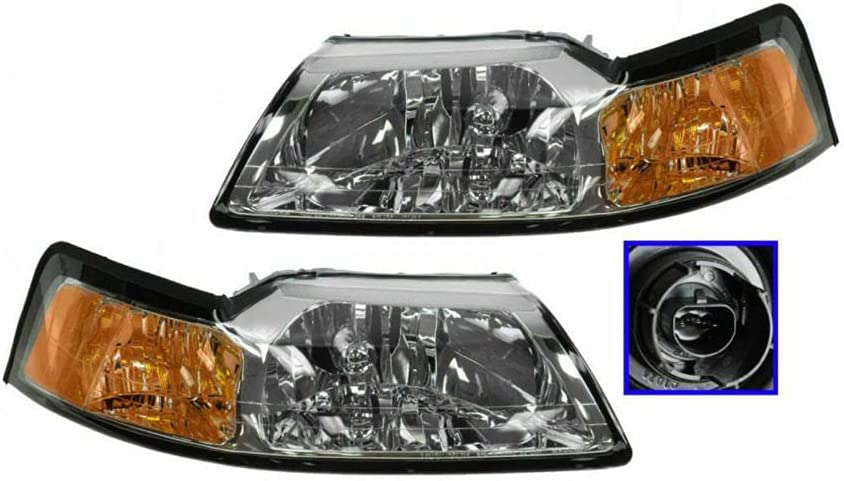 SCKJ Headlights Headlamps w Chrome Bezel Left Free shipping on posting reviews Tampa Mall Right Set Pair C