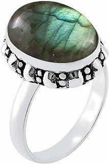 MIRRAMOR Anillo de labradorita natural de 12 x 16 mm, forma ovalada, anillo solitario para mujer, mamá, esposa