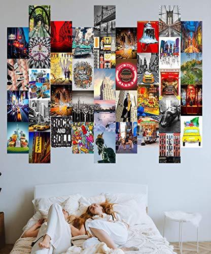 100 fotos decorativas con adhesivo. En cartulina estucada de 250 gr y buena resolución de impresión. Laminas pared a color para decoración de habitación y decoración de hogar. Aesthetic. Nueva York