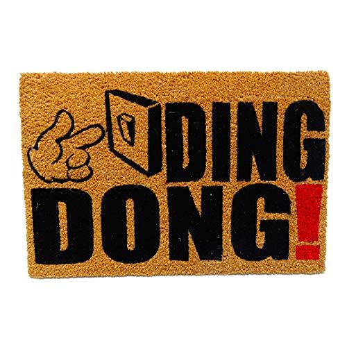 koko doormats felpudos Entrada casa Originales, Fibra de Coco y PVC, Felpudo Exterior Ding Dong!, 40x60x1.5 cm | Alfombra Puerta Entrada casa Exterior | Felpudos Divertidos para Puerta
