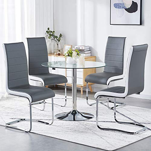 GIZZA Grey White Sides Dining Chairs Set of 4 Faux Leather Upholstered Seat Pad Chrome Leg Comfortable High Back Modern Home/Office Furniture