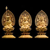 VBNHGF Estatuas 3 Unids/Set Talla Estatua De Buda Sólido Estatuas De Artesanía De Madera Decoración del Hogar-Multicolor_Tamaño: 9 * 9 * 17 Cm / 1