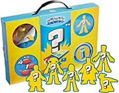 ​Mystery figure set with 6 surprise DC Super Friends character figures in a carry case ​Who's inside? Peel to reveal which surprise figures are included ​Kids can display all the figures in the case and bring them along on all their adventures ​Set i...