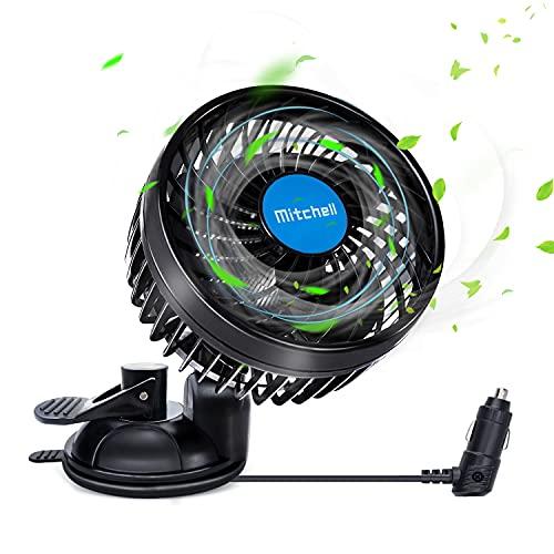 """GXI 4.5""""Ventilatore per Auto 12V della Ventola per autoveicolo Ventosa Raffreddamento Automatico a velocità variabile Continua a Basso Rumore Accendisigari a 360° per Barca SUV RV per Auto"""