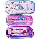 JPYH Astuccio con grazioso unicorno in rilievo,con parte superiore rigida, per bambini, grande, per matite, penne e cancelleria, con compartimenti multipli,anche per cosmetici per bambine