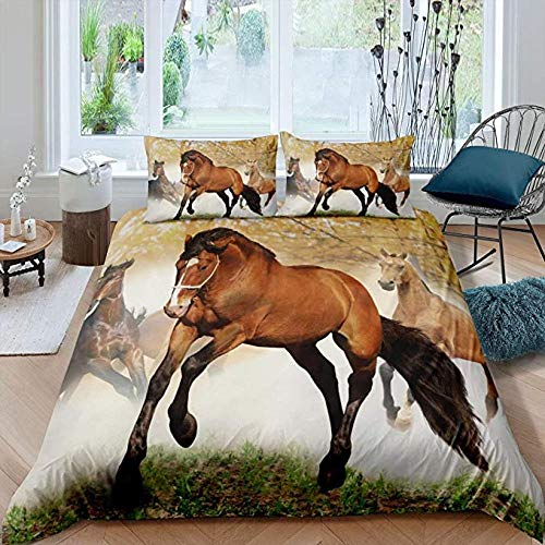 HUA JIE Bedsheets Cotton Double Bed Set,3D Running Horse Duvet Cover Animal Theme Cool Style Bedding Set Soft Skinfriendly Microfiber Quilt For Adult Teens Kids Brown Printed Decor Bedspread