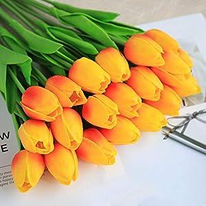 Ruosaren – Ramo de flores artificiales para decoración de flores falsas, tulipán de seda para novia, boda, para el hogar…