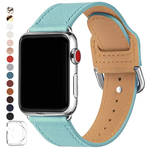 POWER PRIMACY Bands Compatible with Apple Watch Band 38mm 40mm 42mm 44mm, Top Grain Leather Smart Watch Strap Compatible for Men Women iWatch Series 6 5 4 3 2 1,SE (Tiffany Blue/Silver, 42mm 44mm)