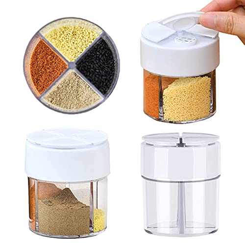 2 Pack Travel Salt and Pepper Shakers Mini, Plastic 4 in 1 Dispenser Camping Spice Containers with Sealed Lid, Seasoning Spice Shaker Travel Camping Spice Kit for Cooking, Mini Peppers and Steak BBQ