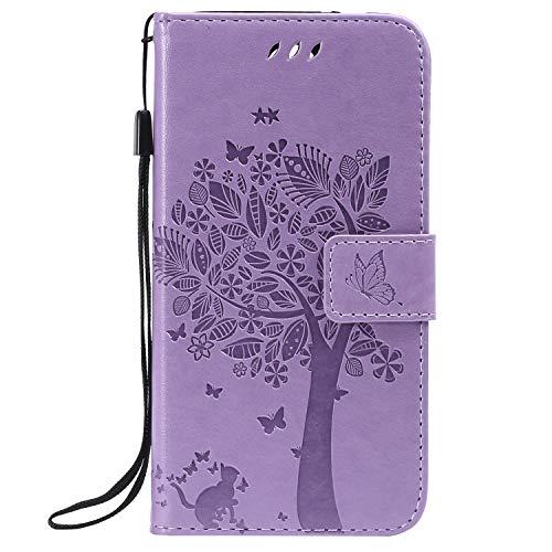 ViViKaya Handyhülle für LG K9/LG K8 2018,Schlanke Leder Brieftasche hülle Flip Folio Handytasche für LG K9/LG K8 2018 [Lavendel]