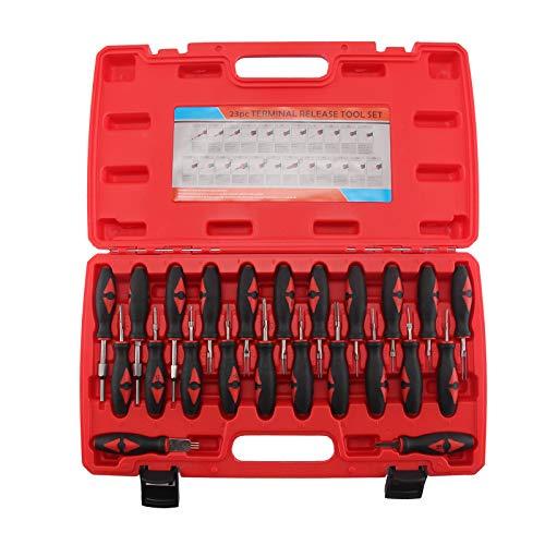 Trintion 23Tlg Entriegelungswerkzeug Set Auspinwerkzeug Lösewerkzeug ISO Stecker Kfz Stecker Entriegelung Steckkontakte Entriegeln Geeignet für Runde und Flach Steckkontakte Kunststoff