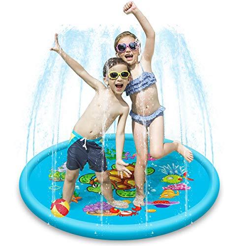 Leyee Aufblasbare Spritzmatte, 109 cm, Sprinkler Spritzwasser Spielmatte Outdoor Aufblasbare Kinder Kleinkind Springbrunnen Spielunterlage für Zuhause draußen Garten Spiele