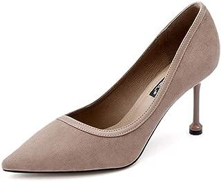 KTYXDE High Heel Women's Stiletto Work Shoes Spring and Summer 8CM Black Gray Women's Shoes (Color : Gray, Size : EU39/UK6/CN39)