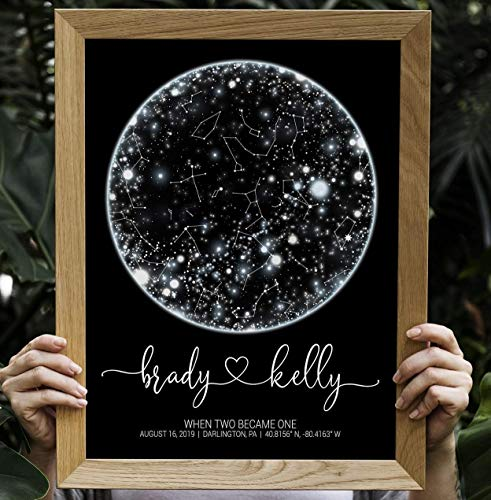 Custom Constellation Map, Wedding Anniversary Gift Personalized Star Map be date print, Night Sky Framed poster