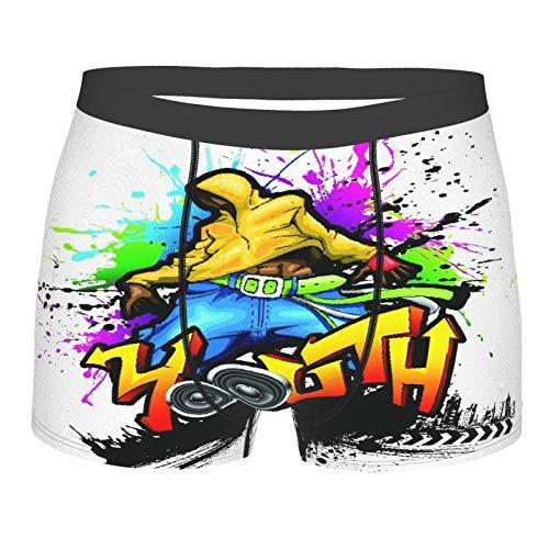 Popsastaresa Männerunterwäsche,Junger Mann Hip Hop Kultur Graffiti Kunst und Straßenkultur Performer Bunte Grunge, Boxershorts Atmungsaktive Komfortunterhose Größe XL