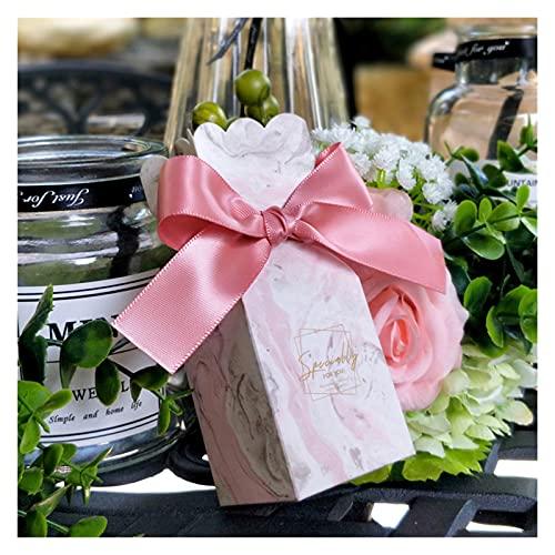 MAUAP Nuevo Favor de Boda Bolsas de Papel Cajas de Dulces Dulces para Baby Shower Boy Girl Cumpleaños Caja de Regalo Decoración del Partido Suministros (Color : Pink A, Gift Box Size : 20 PCS)