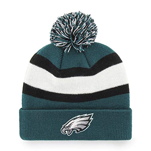 OTS NFL Philadelphia Eagles Men's Rush Down Cuff Knit Cap with Pom, Team Color, One Size