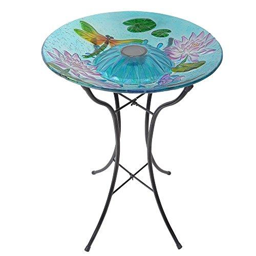 Peaktop 3208900 Outdoor Dragonfly Fusion Glass Solar Bird Bath w/Metal Stand, 18' Light Blue