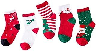 Christmas Merry Wishes 5 Pair Christmas Stockings Children's Socks Autumn and Winter Cute Cotton Socks Children's Warm Soc...