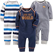 Simple Joys by Carter's Baby Boys' 3-Pack Jumpsuits, Gray, Multi Stripe, Navy Stripe, 6-9 Months
