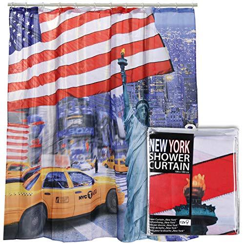 Preis am Stiel Duschvorhang ''New York'' | Badvorhang | Dusche | Deko | Badaccessoire | Badewanne | Badewannenvorhang | Bad | Badezimmer | Geschenkidee | Vorhang | Duschabtrennung