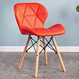 QZYQ Silla Comedor Nordic Dining Chair Silla de Dormitorio Upholstered Dining Chair, upholstered Seat, Ergonomic backrest Solid Beech Wood Legs butacas sillas Salon (Color : Red, Size : Leather)