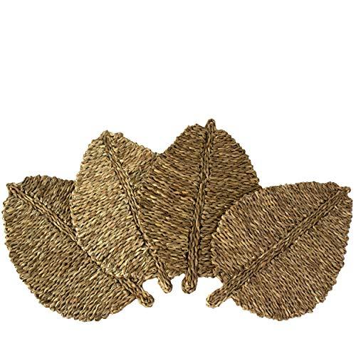 Juego de 4 manteles individuales de tejido en forma de hoja para mesa de comedor,alfombra trenzada natural,hecha a mano,de paja marina,de mimbre,resistente al calor,aislamiento térmico,antideslizante