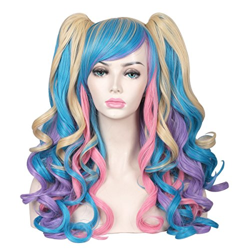 ColorGround Long Curly Cosplay Wig with 2 Ponytails(Pink/Blue/Blonde)