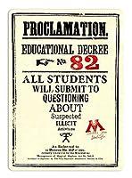 宣言教育令ティンサイン壁鉄の絵レトロプラークヴィンテージ金属板装飾ポスターおかしいポスター吊り工芸品バーガレージカフェホーム