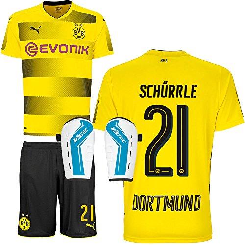 BVB Borussia Dortmund Set bestehend aus Heimtrikot Heimhose Saison 2017 2018 und Schienbeinschoner Farbe Schürrle, Größe XXXL