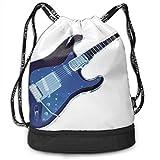 Sacs à Cordon,Sacs de Sport,Sacs à Dos Loisir, Drawstring Backpack Bundle Gym Bike Duffel Bag Knapsack Fashion Waterproof Sport Bag for Men Woman School Travel Blue Guitar Print Pack