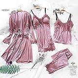 zhuwei Conjunto De Pijamas Cálidos De Otoño Invierno para Mujer, Pijamas Sexis para Mujer, Ropa De Dormir Sin Mangas con Tirantes, Bata De Pantalón Largo(Color:Rosado,Size:1)