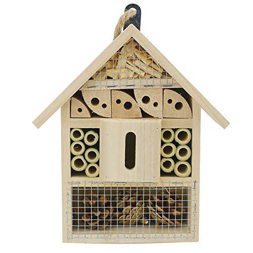"""Sunnygalde Hand-Made Natural Wooden Insect House Garden Bug Hotel Perfect Home for Ladybugs/Mason Bees/Butterflies Live (8.5"""" x 5.3"""" x 2.2"""")"""