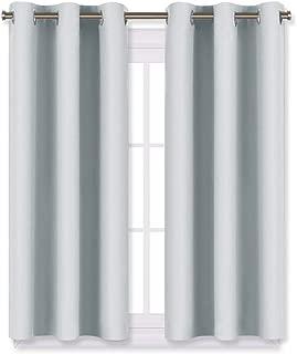 NICETOWN Room Darkening Draperies Curtains Panels, Window Treatment Thermal Insulated Grommet Room Darkening Curtains/Drapes for Bedroom (2 Panels,29 by 45,Platinum-Greyish White)