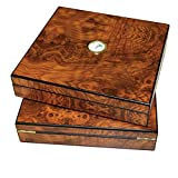 10-20 Cigar Humidor for Desktop or Travel. Cedar Lined Cigar Humidifier with Hygrometer and Divider