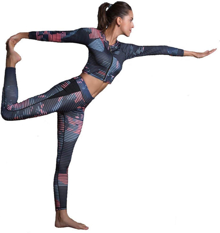 Sakj-c Frauen Sport Anzug Gestreiften Fitness Kleidung Zwei Stücke Yoga Set Gedruckt Crop Top + Gym Leggings S-XL