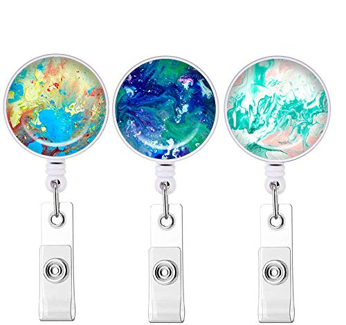 Marble Abstract Series Badge Reel, Retractable ID Card Badge Holder with Alligator Clip, Name Nurse Decorative Badge Reel Clip on Card Holders(3 Pack)