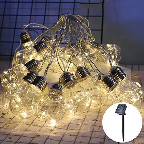 Led-lichtsnoer op zonne-energie, 20 bolletjes, 8 m, waterdicht, voor binnen en buiten, decoratieve gloeilamp voor tuin, balkon, feest, bruiloft, Kerstmis