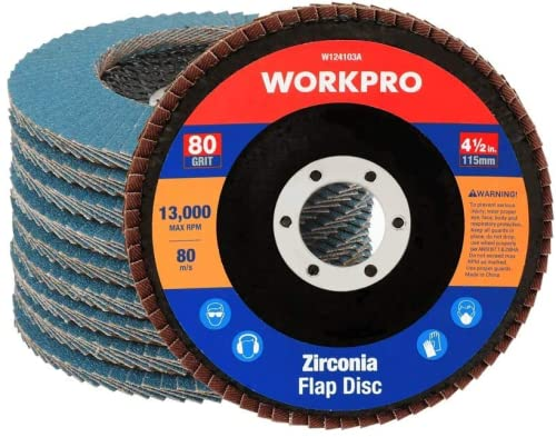 WORKPRO 10 PC Discos Abrasivo Disco de Láminas Disco para Amoladoras Angulares ø 115 mm 80 Grano para Acero Inoxidable, Metal/Acero y Madera