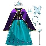 IWEMEK Disfraz Anna Niña Vestido de Princesa Ana con Capa Accesorios Set Traje Carnaval Halloween Navidad Fiesta Theme Fancy Dress Costume Regalos de cumpleaños Outfits F: Azul Set 3-4 años