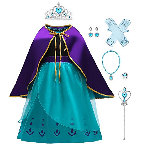 OBEEII Niñas Princesa Anna Disfraz Frozen 2 Carnaval Fiesta de Cosplay Vestido Fancy Dress Up Costume Anna03 6-7 Años