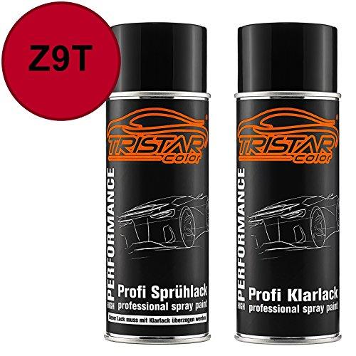 TRISTARcolor Autolack Spraydosen Set für Datsun/Infiniti/Nissan Z9T Bright Red/Rouge Passion Basislack Klarlack Sprühdose 400ml